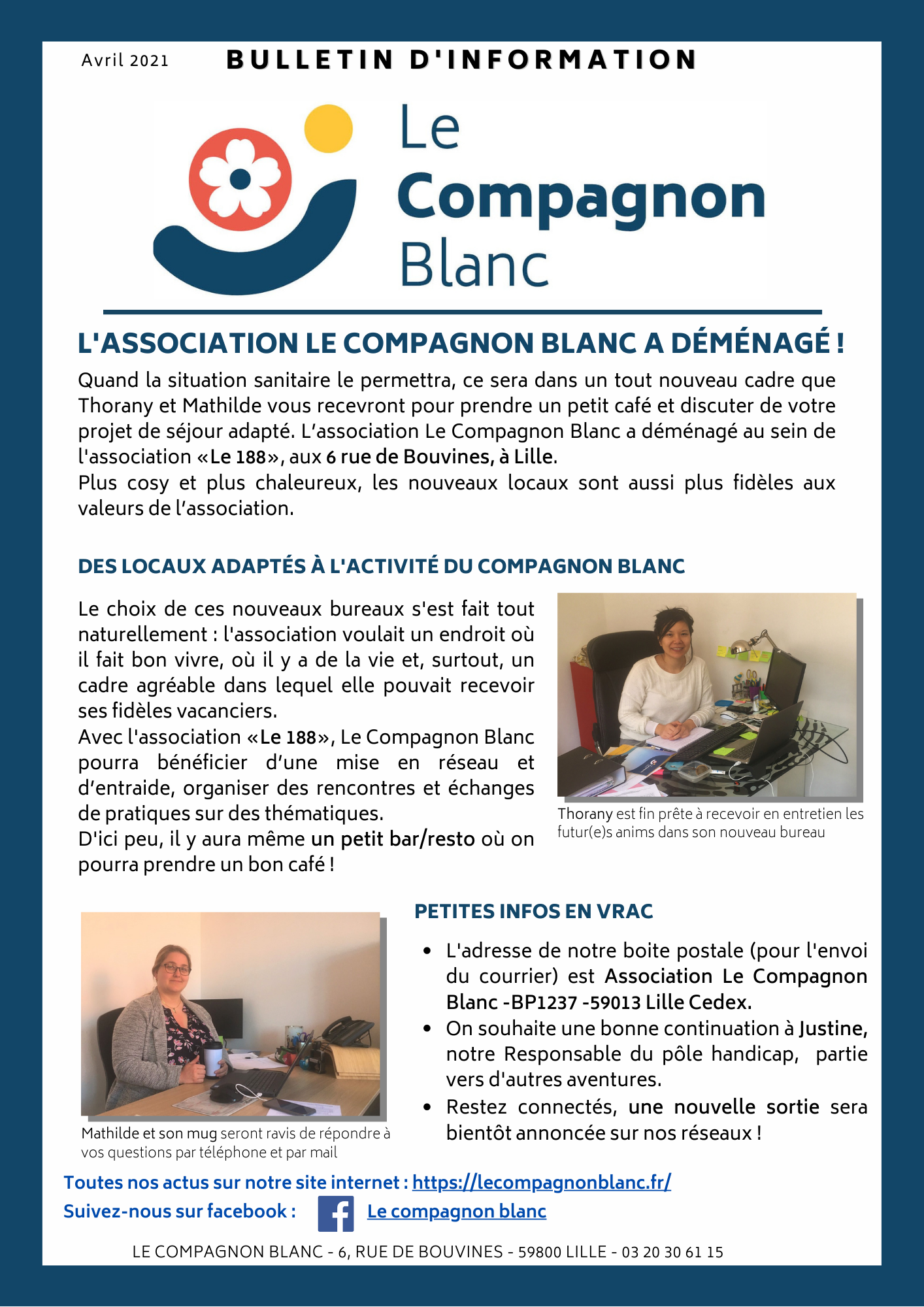 Newsletter Le Compagnon Blanc - Avril 2021 - Lille
