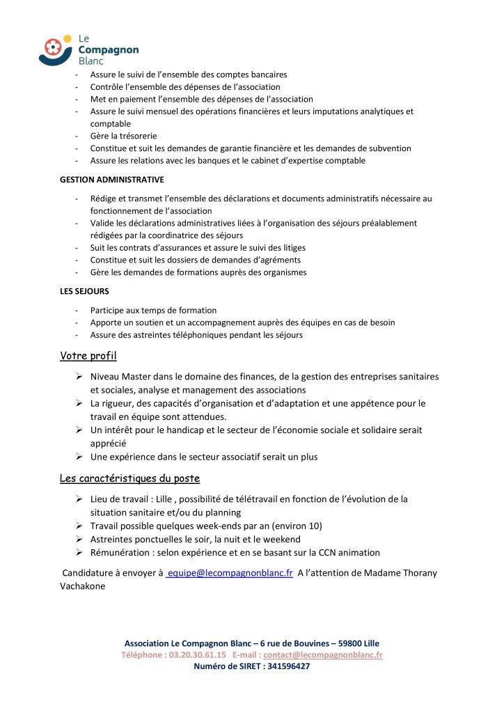 Offre d emploi Recrutement resp. admin et financier- Le Compagnon Blanc